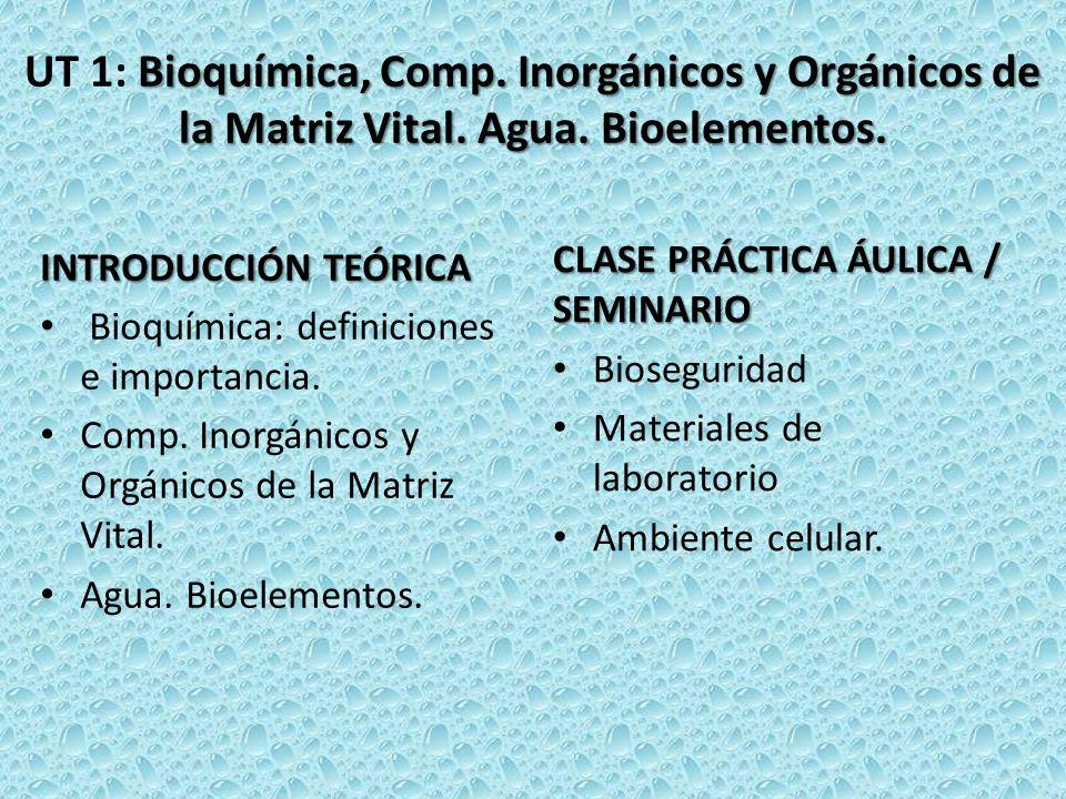 UT 1: Bioquímica, Comp. Inorgánicos y Orgánicos de la Matriz Vital