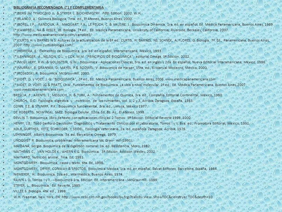 BIBLIOGRAFIA RECOMENDADA (*) Y COMPLEMENTARIA