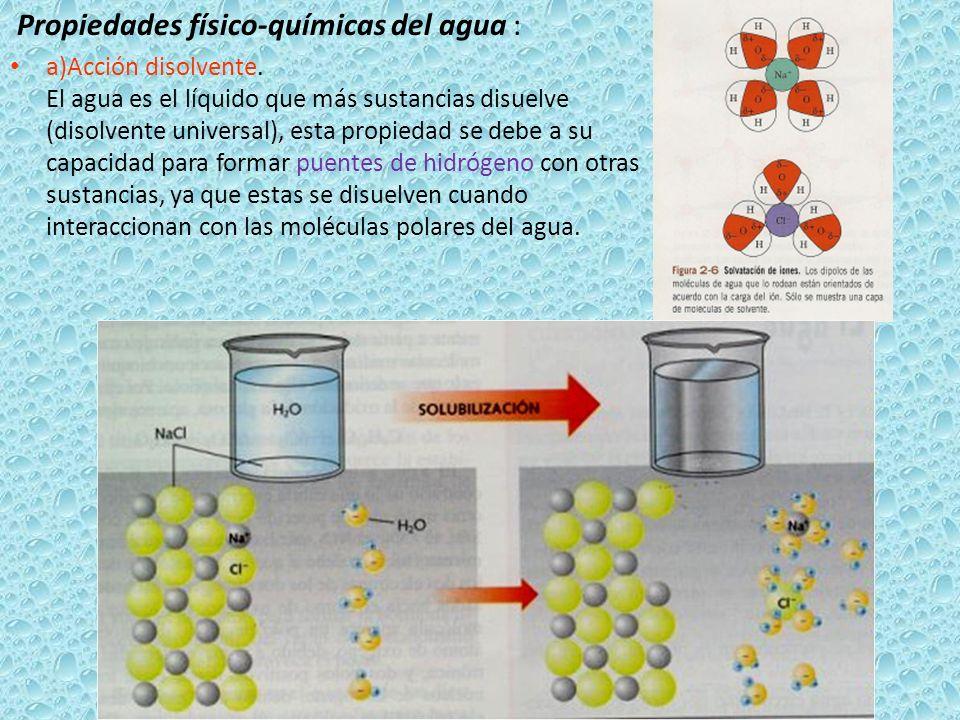 Propiedades físico-químicas del agua :