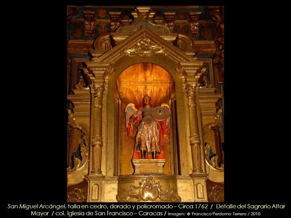 San Miguel Arcángel, talla en cedro, dorado y policromado – Circa 1762 / Detalle del Sagrario Altar Mayor / col.