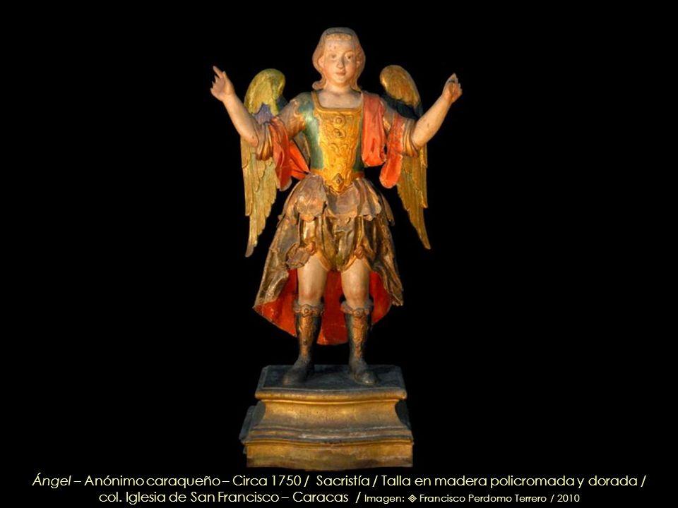 Ángel – Anónimo caraqueño – Circa 1750 / Sacristía / Talla en madera policromada y dorada /
