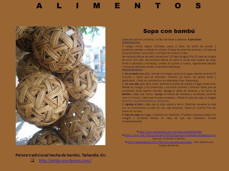 Pelota tradicional hecha de bambú. Tailandia. En:
