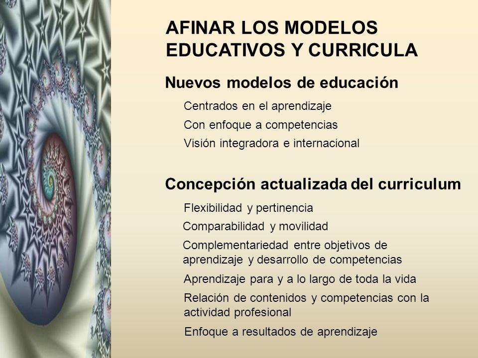AFINAR LOS MODELOS EDUCATIVOS Y CURRICULA