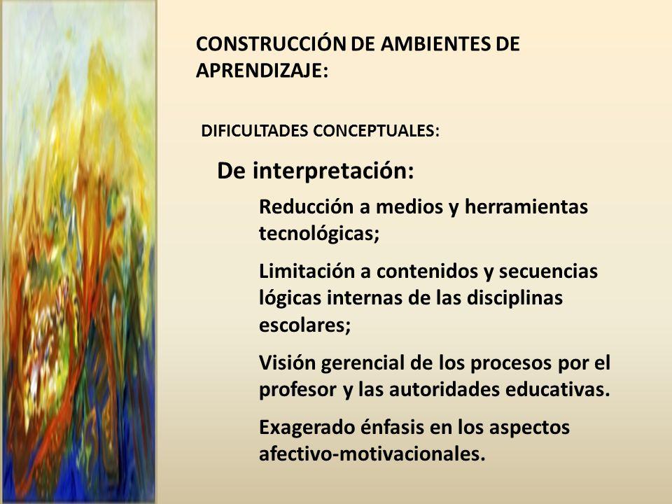 De interpretación: CONSTRUCCIÓN DE AMBIENTES DE APRENDIZAJE: