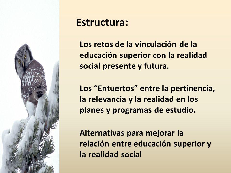 Estructura: Los retos de la vinculación de la educación superior con la realidad social presente y futura.