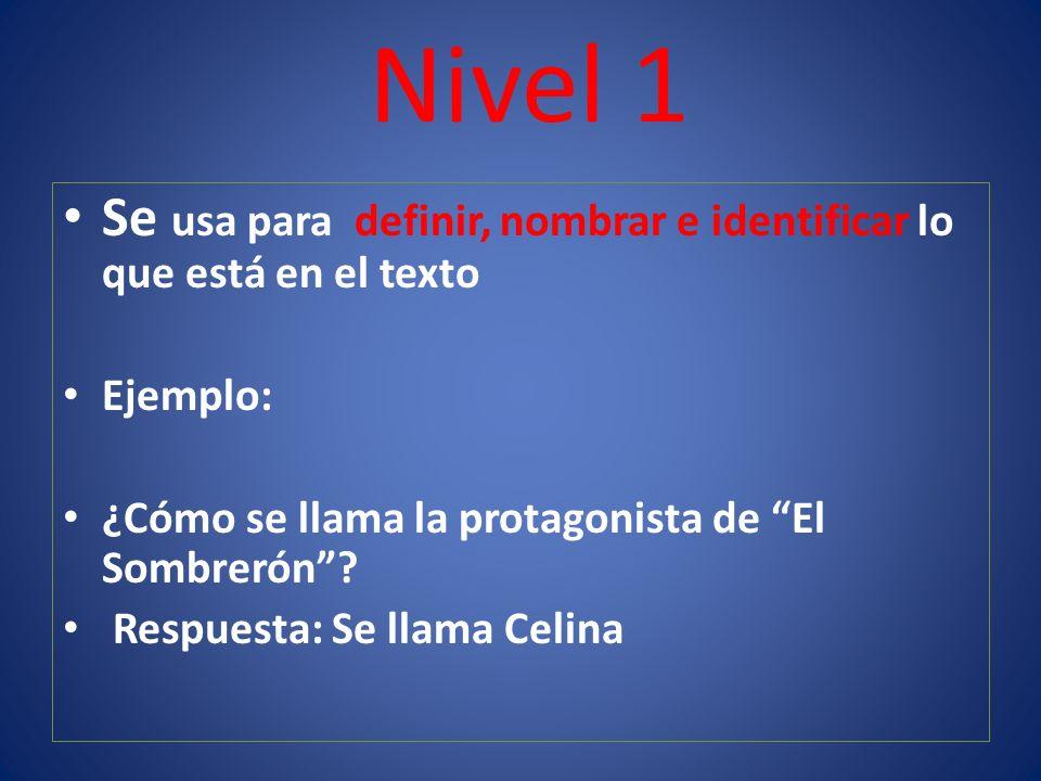 Nivel 1 Se usa para definir, nombrar e identificar lo que está en el texto. Ejemplo: ¿Cómo se llama la protagonista de El Sombrerón