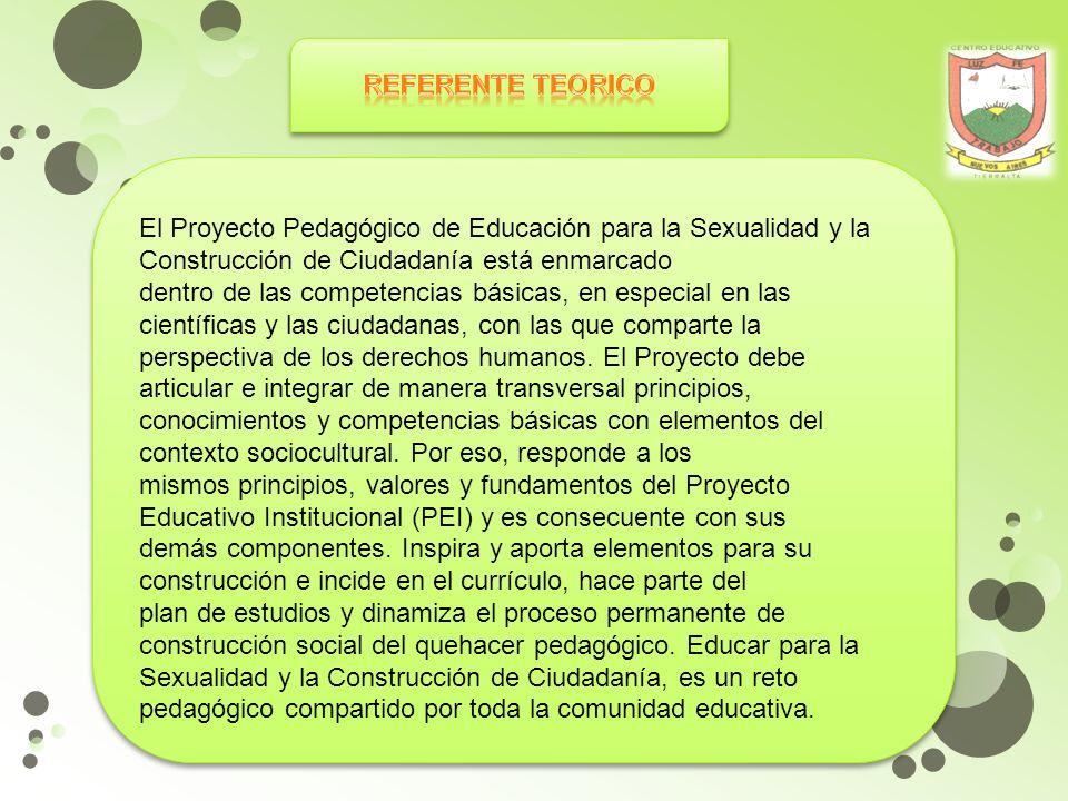 REFERENTE TEORICO El Proyecto Pedagógico de Educación para la Sexualidad y la Construcción de Ciudadanía está enmarcado.