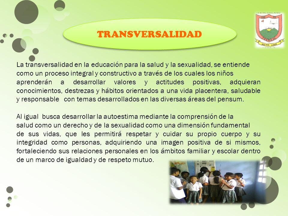 TRANSVERSALIDAD La transversalidad en la educación para la salud y la sexualidad, se entiende.