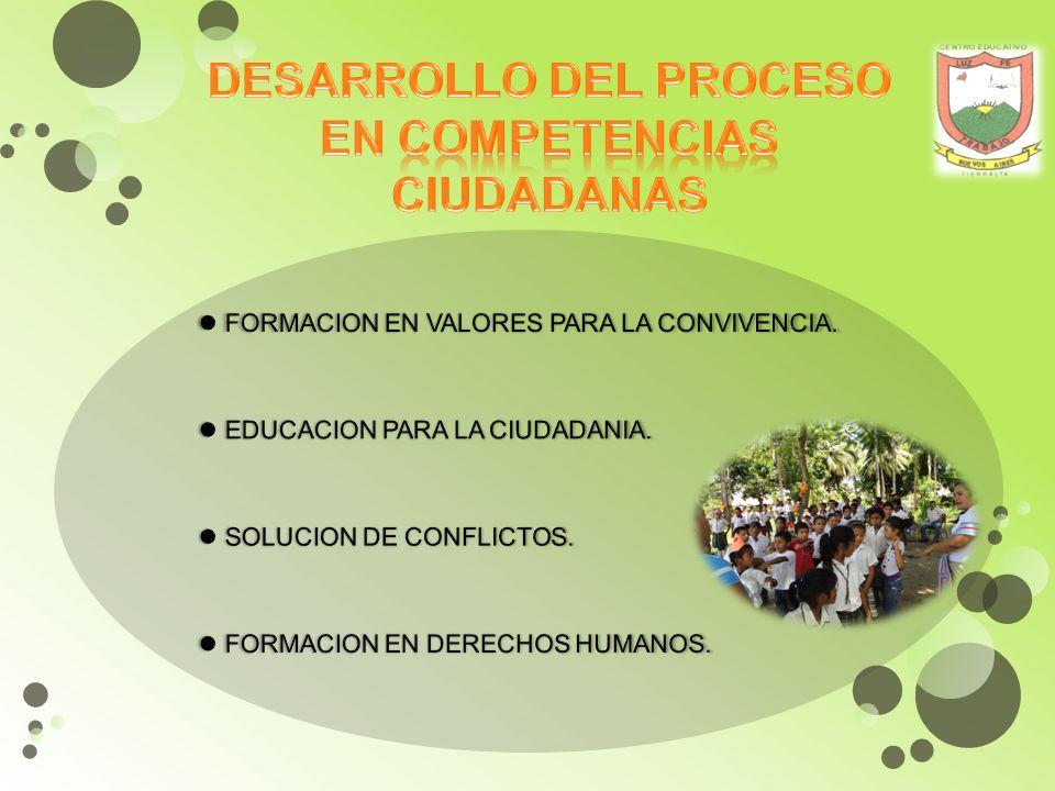 DESARROLLO DEL PROCESO EN COMPETENCIAS CIUDADANAS