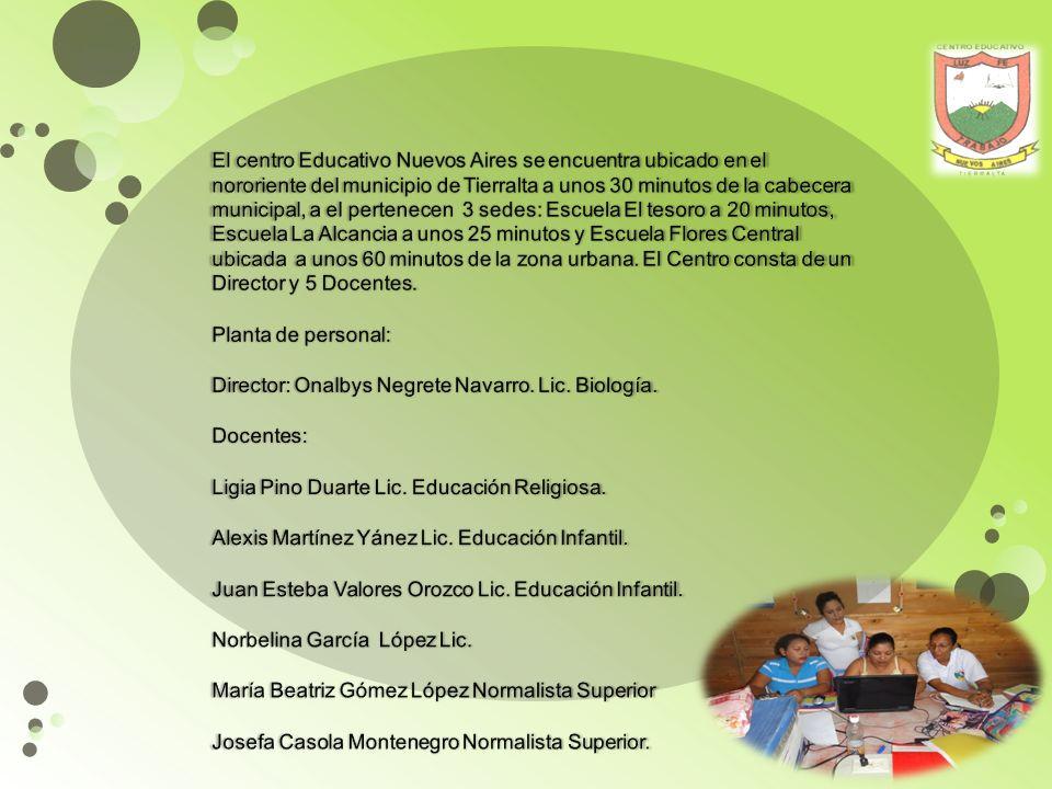 El centro Educativo Nuevos Aires se encuentra ubicado en el nororiente del municipio de Tierralta a unos 30 minutos de la cabecera municipal, a el pertenecen 3 sedes: Escuela El tesoro a 20 minutos, Escuela La Alcancia a unos 25 minutos y Escuela Flores Central ubicada a unos 60 minutos de la zona urbana.