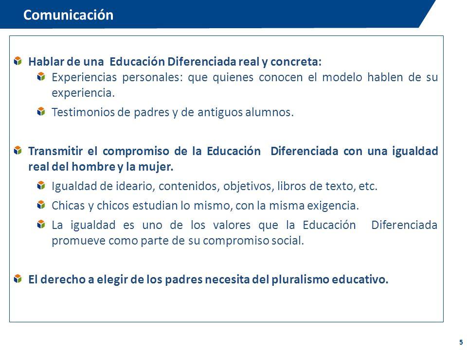 Comunicación Hablar de una Educación Diferenciada real y concreta: