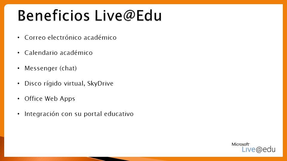 Beneficios Live@Edu Correo electrónico académico Calendario académico