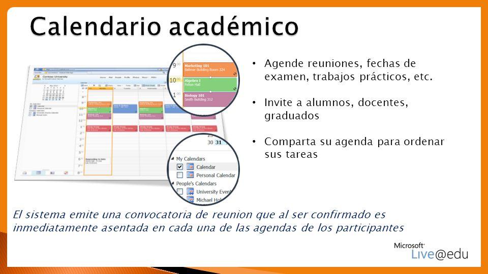 Calendario académico Agende reuniones, fechas de examen, trabajos prácticos, etc. Invite a alumnos, docentes, graduados.