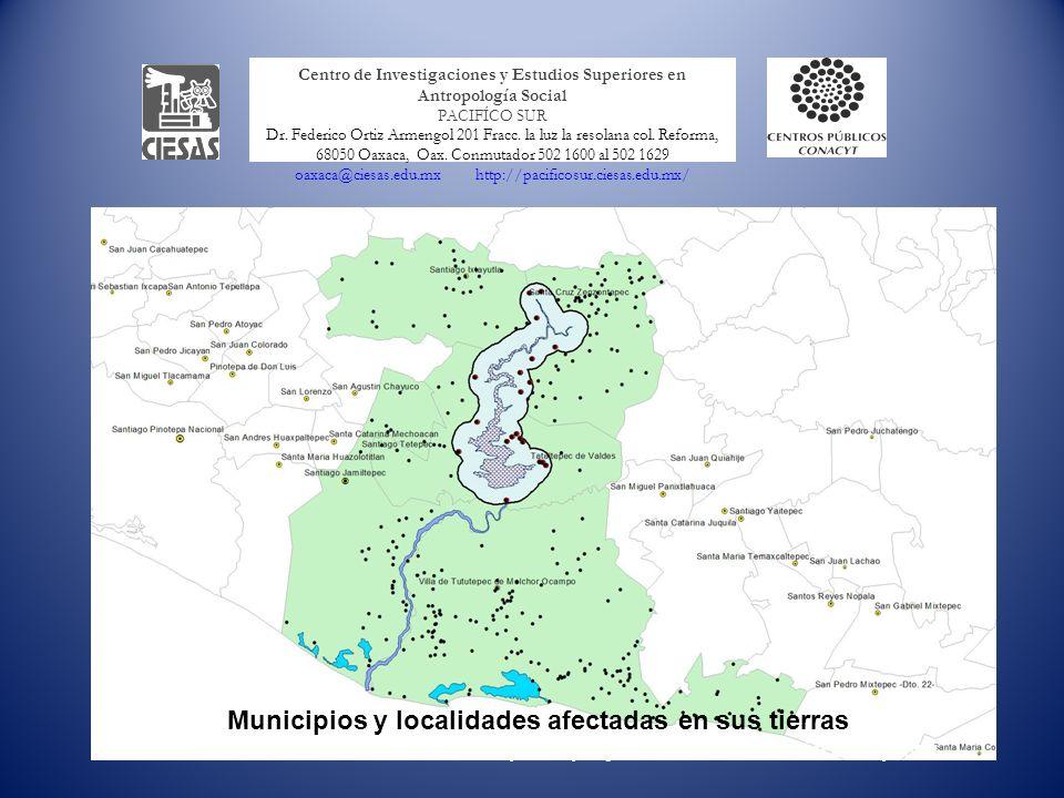 Municipios y localidades afectadas en sus tierras