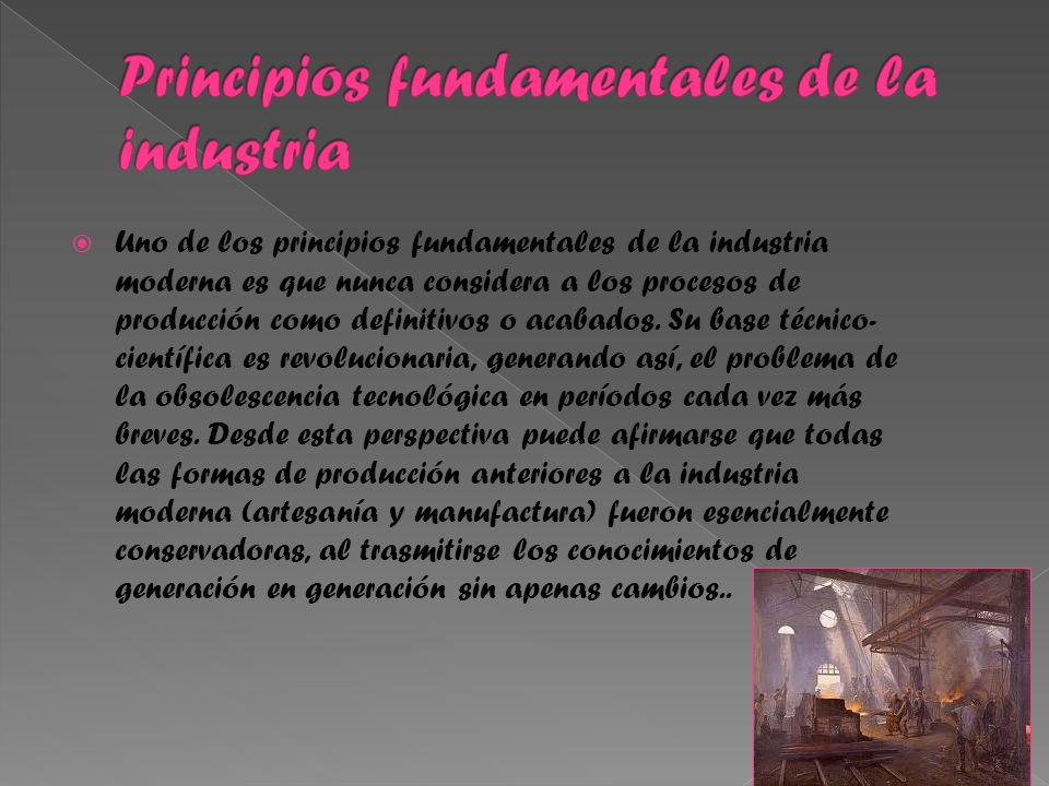 Principios fundamentales de la industria