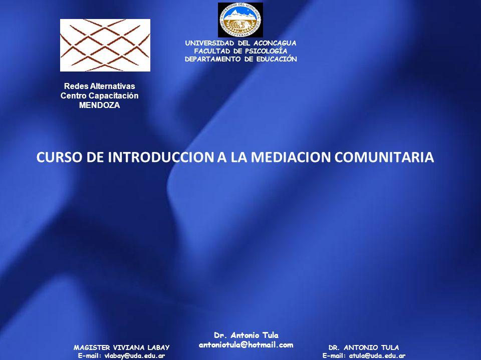CURSO DE INTRODUCCION A LA MEDIACION COMUNITARIA