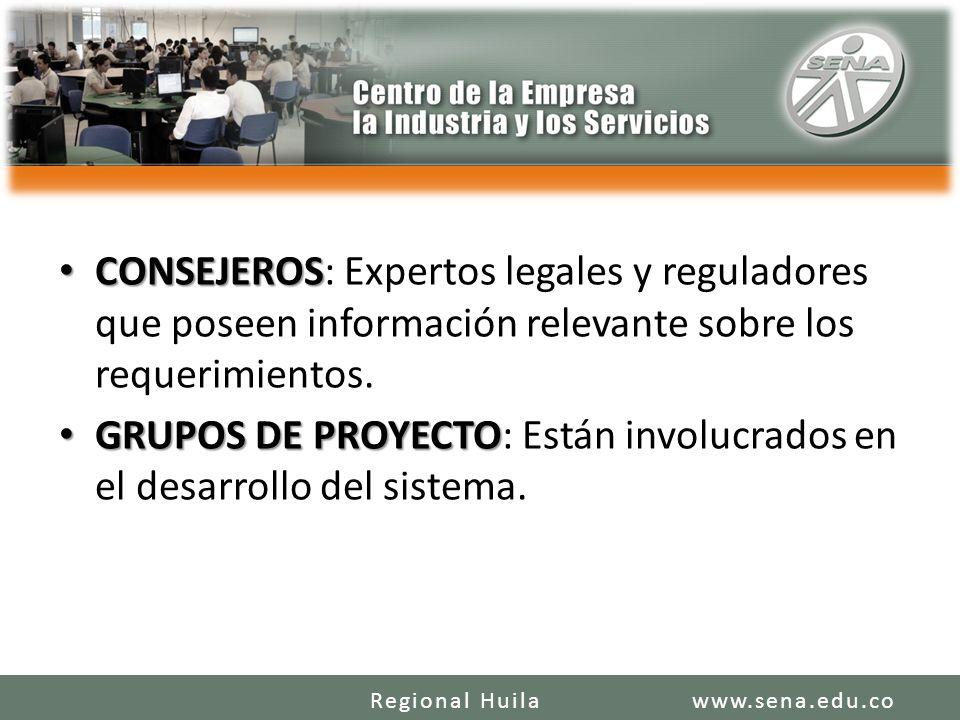 GRUPOS DE PROYECTO: Están involucrados en el desarrollo del sistema.