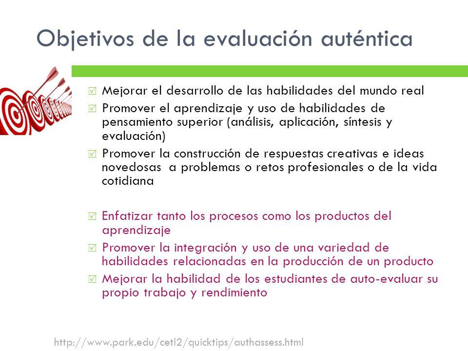 Objetivos de la evaluación auténtica
