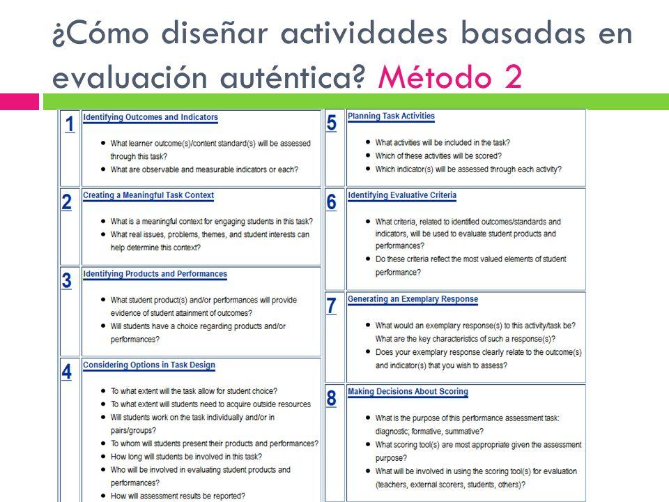¿Cómo diseñar actividades basadas en evaluación auténtica Método 2