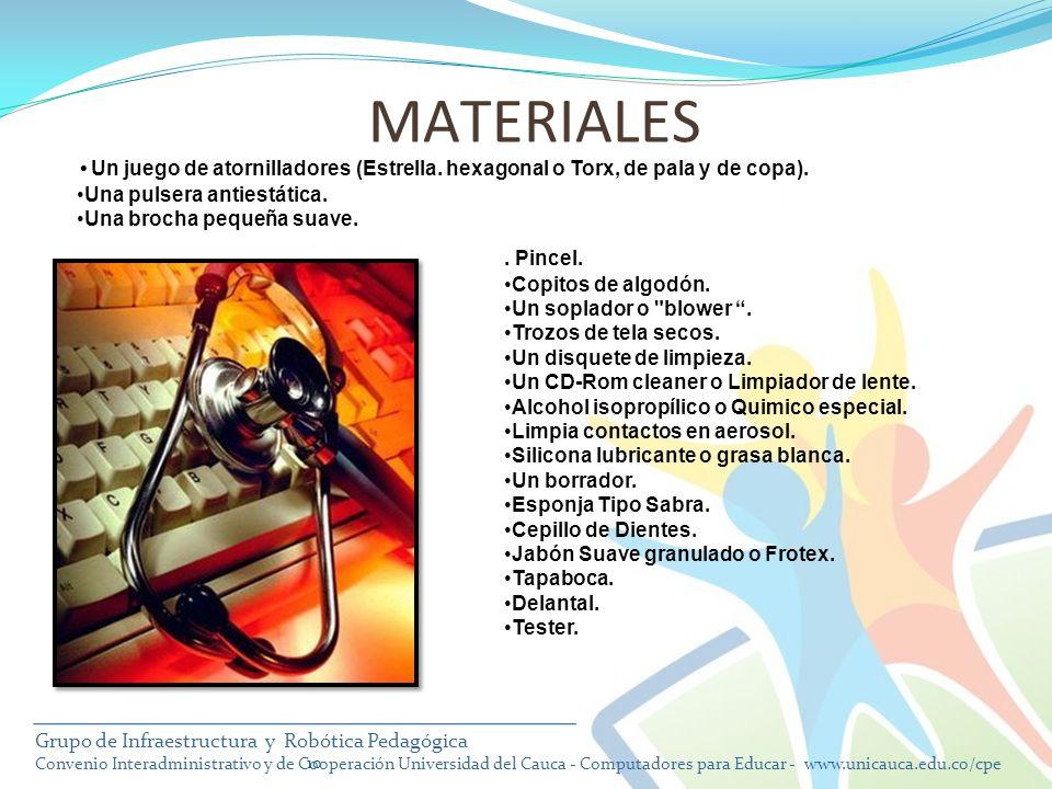 MATERIALES Un juego de atornilladores (Estrella. hexagonal o Torx, de pala y de copa). Una pulsera antiestática.