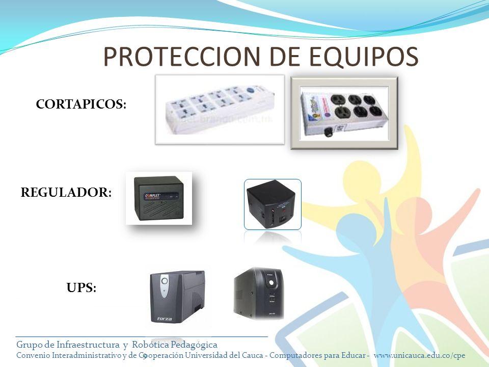 PROTECCION DE EQUIPOS CORTAPICOS: REGULADOR: UPS: