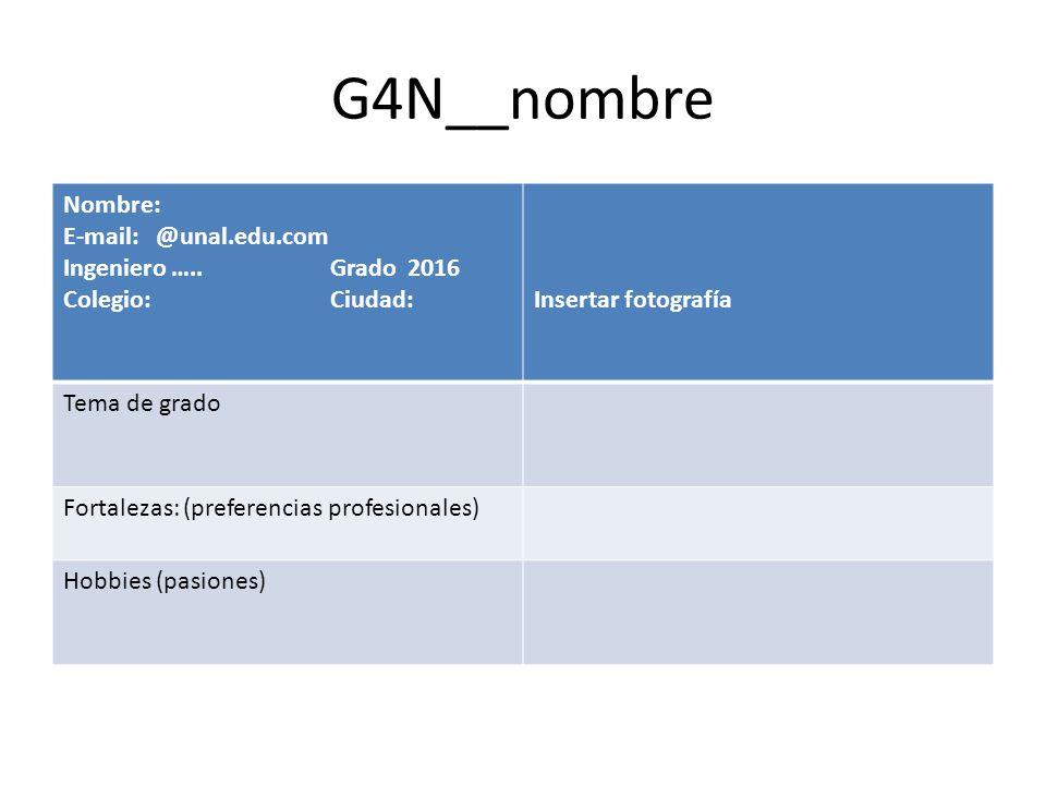 G4N__nombre Nombre: E-mail: @unal.edu.com Ingeniero ….. Grado 2016