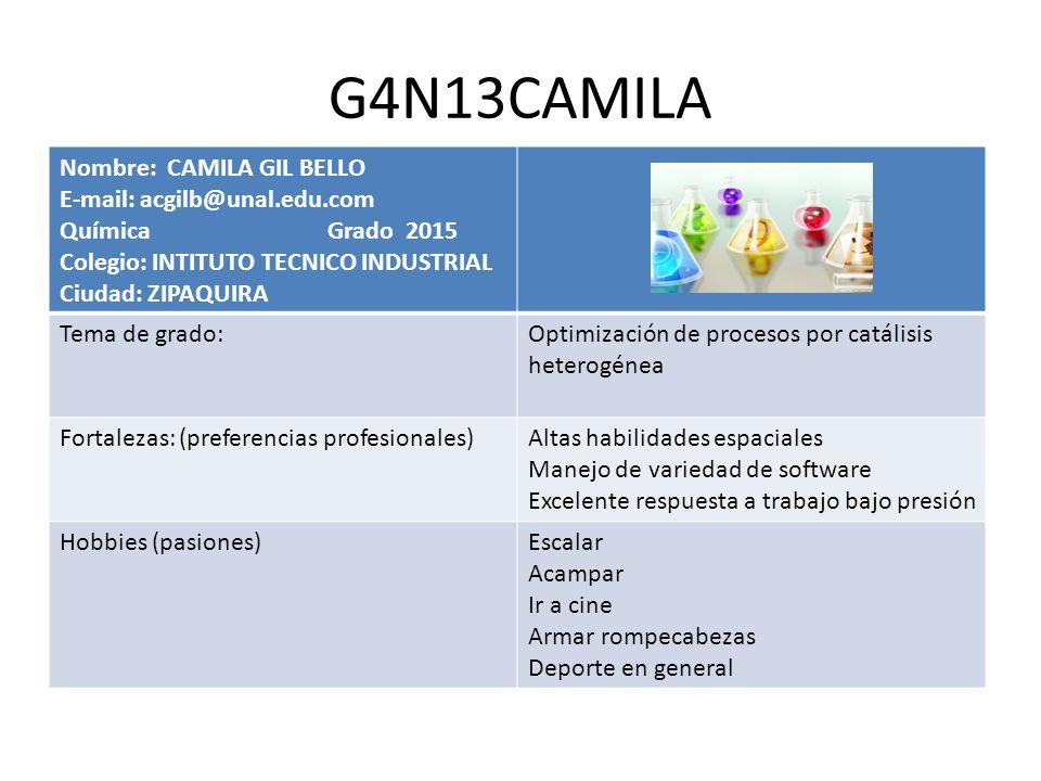 G4N13CAMILA Nombre: CAMILA GIL BELLO E-mail: acgilb@unal.edu.com