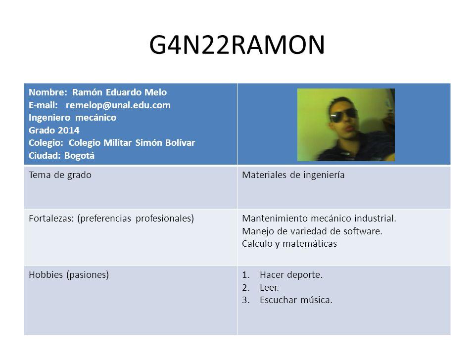 G4N22RAMON Nombre: Ramón Eduardo Melo E-mail: remelop@unal.edu.com