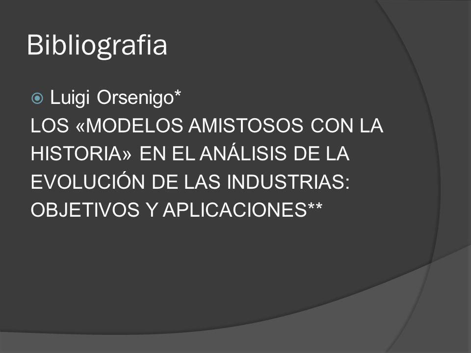 Bibliografia Luigi Orsenigo* LOS «MODELOS AMISTOSOS CON LA
