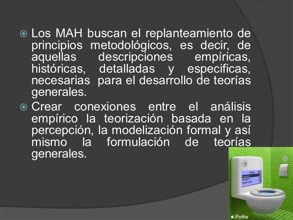 Los MAH buscan el replanteamiento de principios metodológicos, es decir, de aquellas descripciones empíricas, históricas, detalladas y especificas, necesarias para el desarrollo de teorías generales.