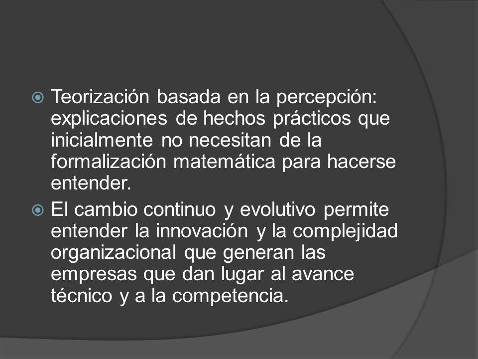 Teorización basada en la percepción: explicaciones de hechos prácticos que inicialmente no necesitan de la formalización matemática para hacerse entender.