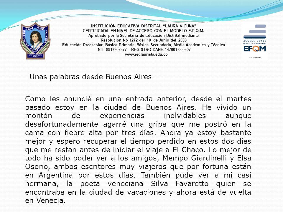 Unas palabras desde Buenos Aires