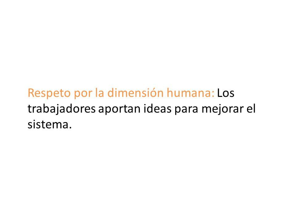 Respeto por la dimensión humana: Los trabajadores aportan ideas para mejorar el sistema.