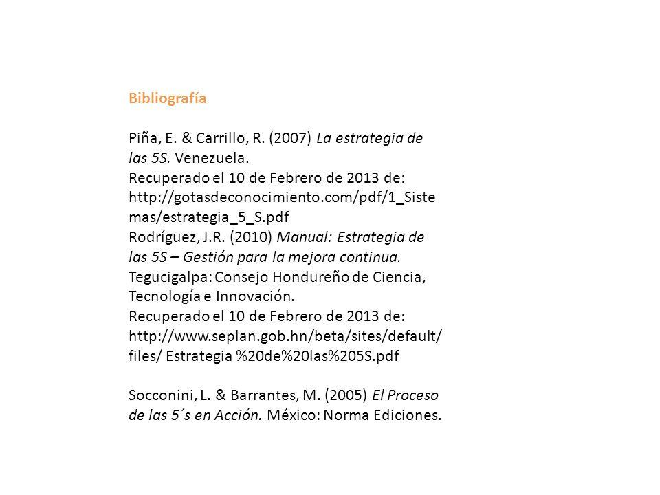Bibliografía Piña, E. & Carrillo, R. (2007) La estrategia de las 5S. Venezuela. Recuperado el 10 de Febrero de 2013 de: