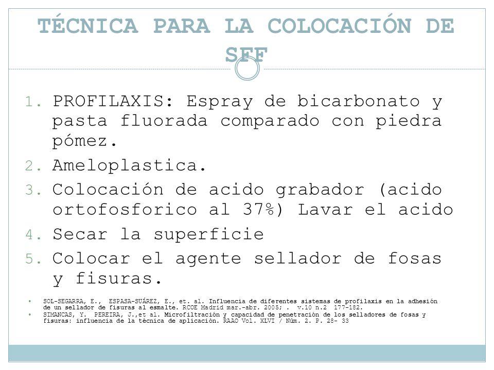 TÉCNICA PARA LA COLOCACIÓN DE SFF