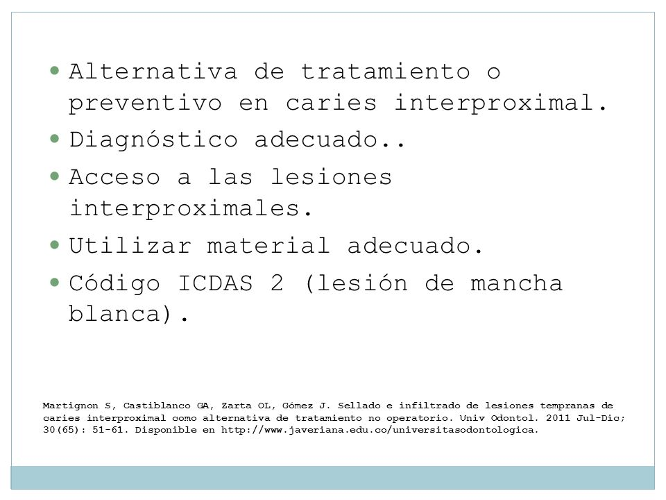 Alternativa de tratamiento o preventivo en caries interproximal.