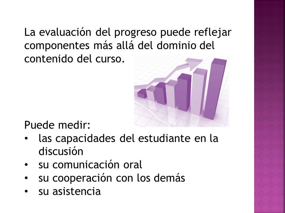 La evaluación del progreso puede reflejar componentes más allá del dominio del contenido del curso.