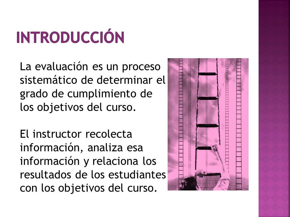 introducción La evaluación es un proceso sistemático de determinar el grado de cumplimiento de los objetivos del curso.