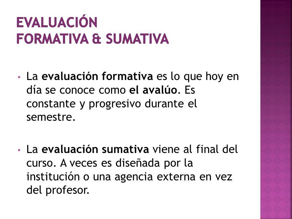 Evaluación formativa & sumativa