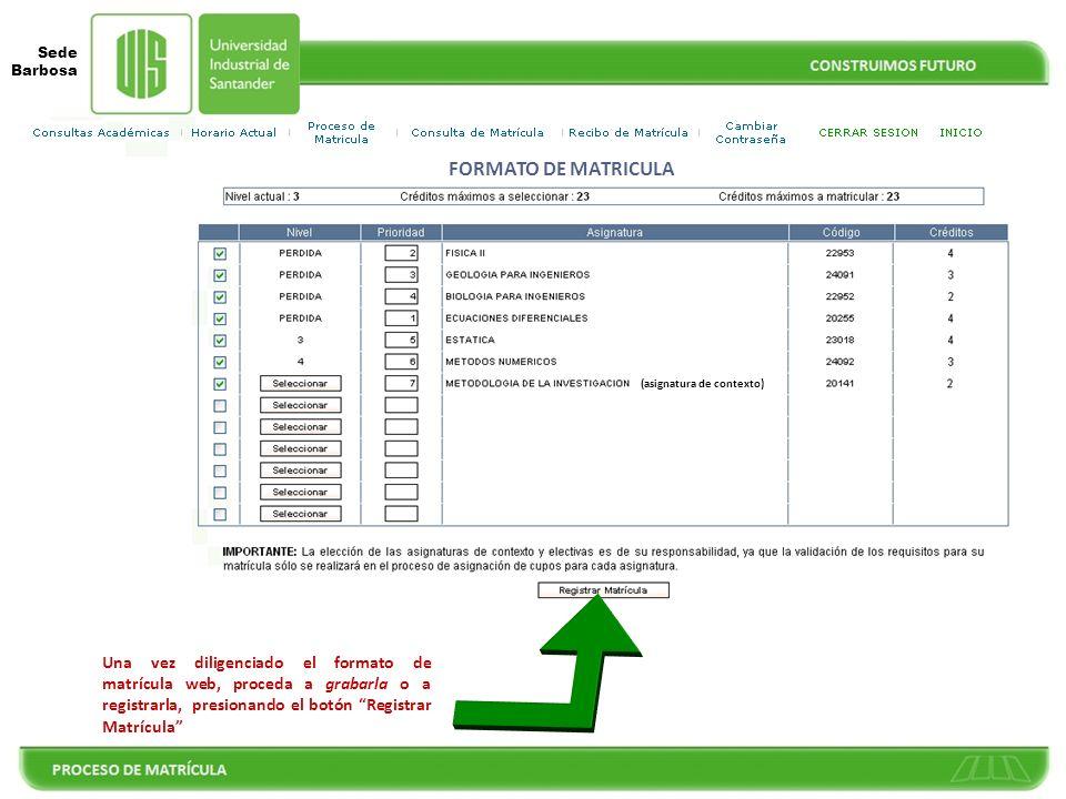 FORMATO DE MATRICULA (asignatura de contexto)