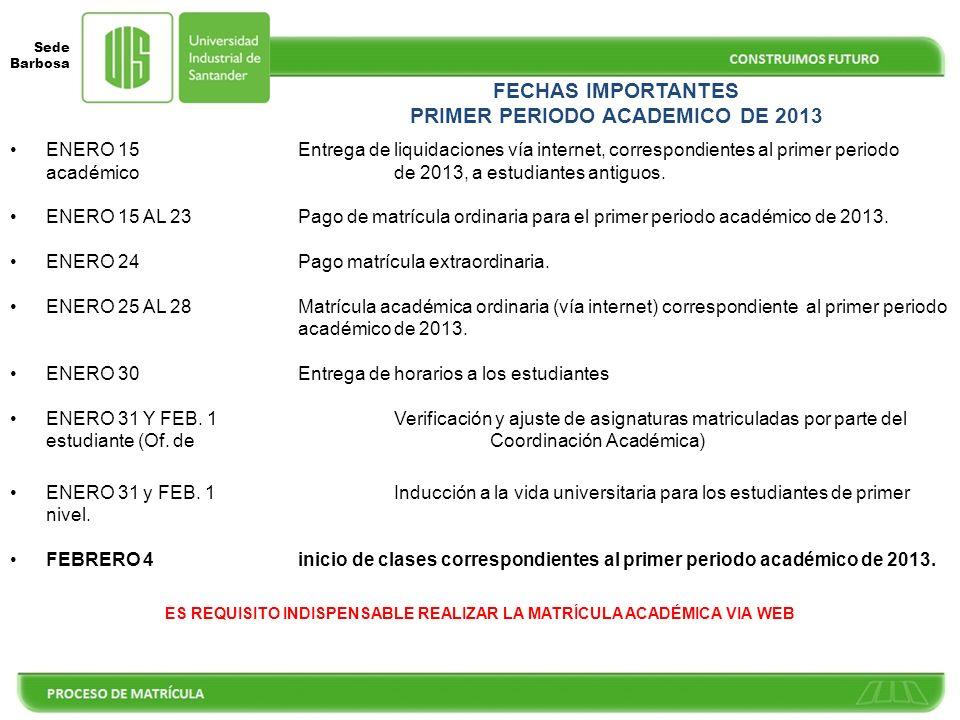 FECHAS IMPORTANTES PRIMER PERIODO ACADEMICO DE 2013