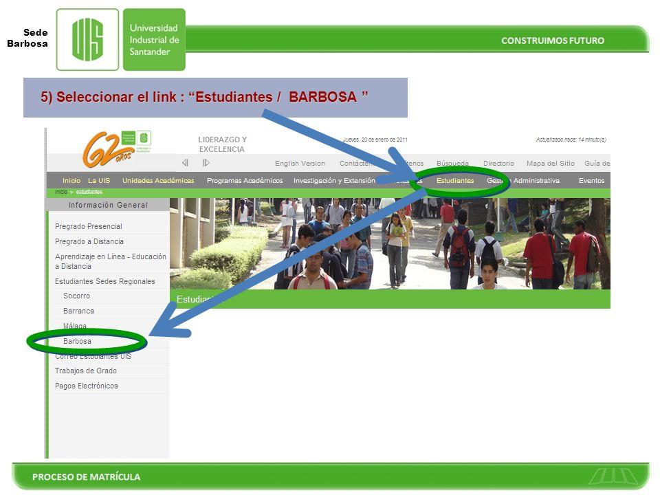 5) Seleccionar el link : Estudiantes / BARBOSA