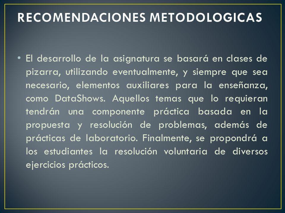 RECOMENDACIONES METODOLOGICAS