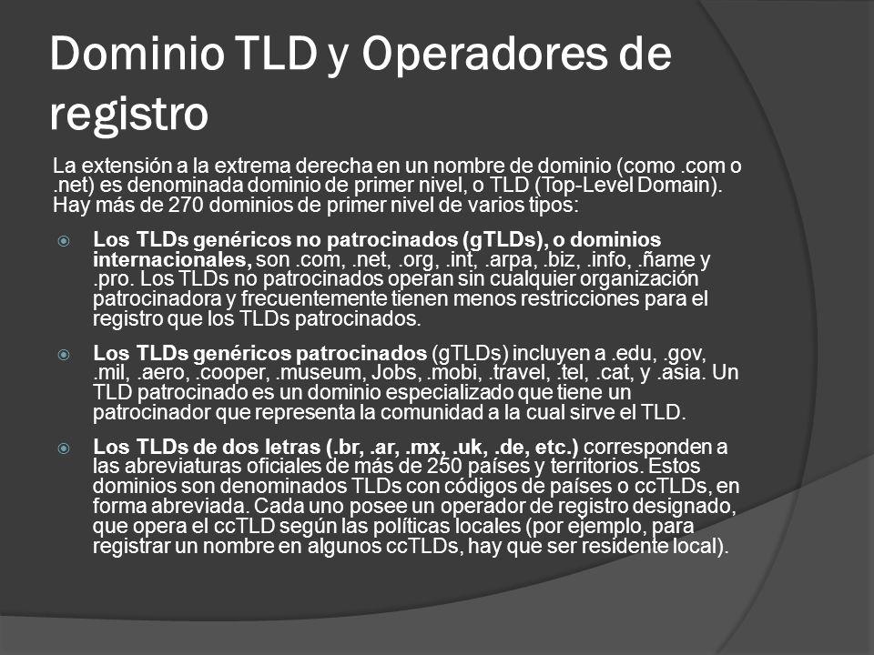 Dominio TLD y Operadores de registro