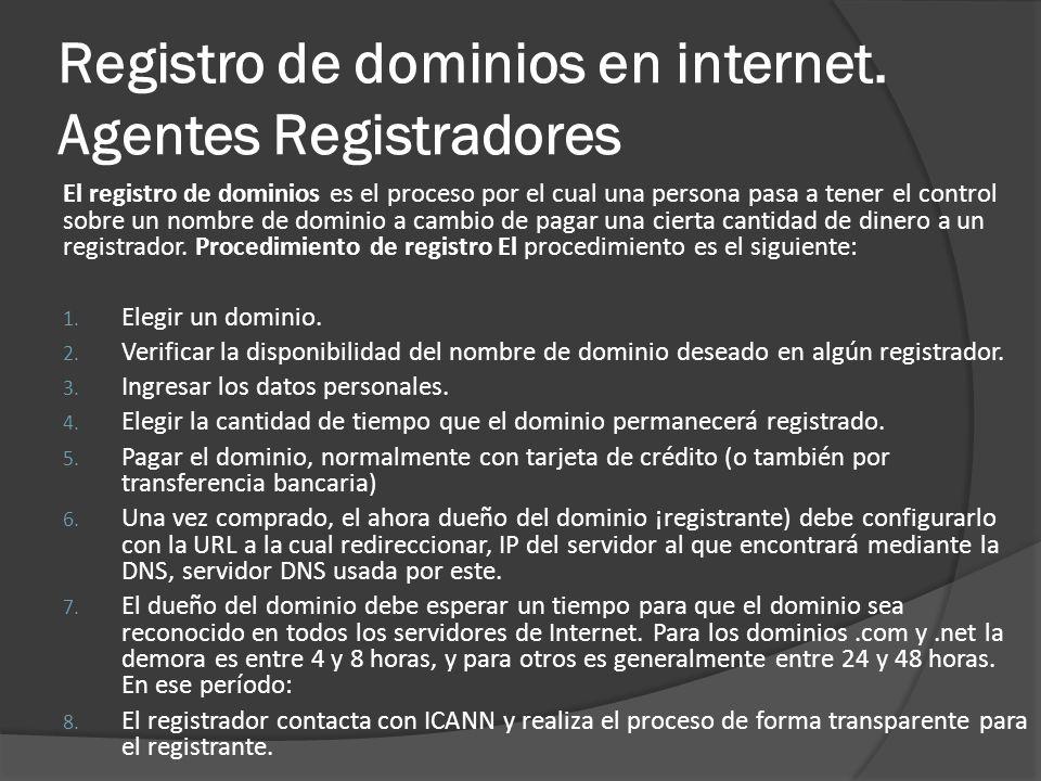 Registro de dominios en internet. Agentes Registradores