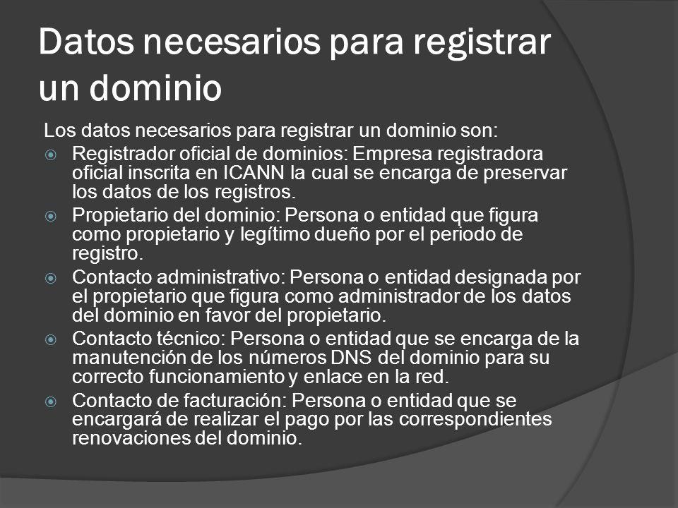 Datos necesarios para registrar un dominio