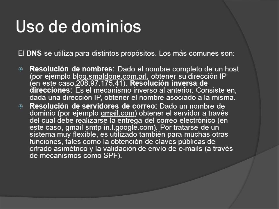 Uso de dominios El DNS se utiliza para distintos propósitos. Los más comunes son: