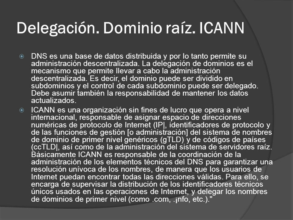 Delegación. Dominio raíz. ICANN