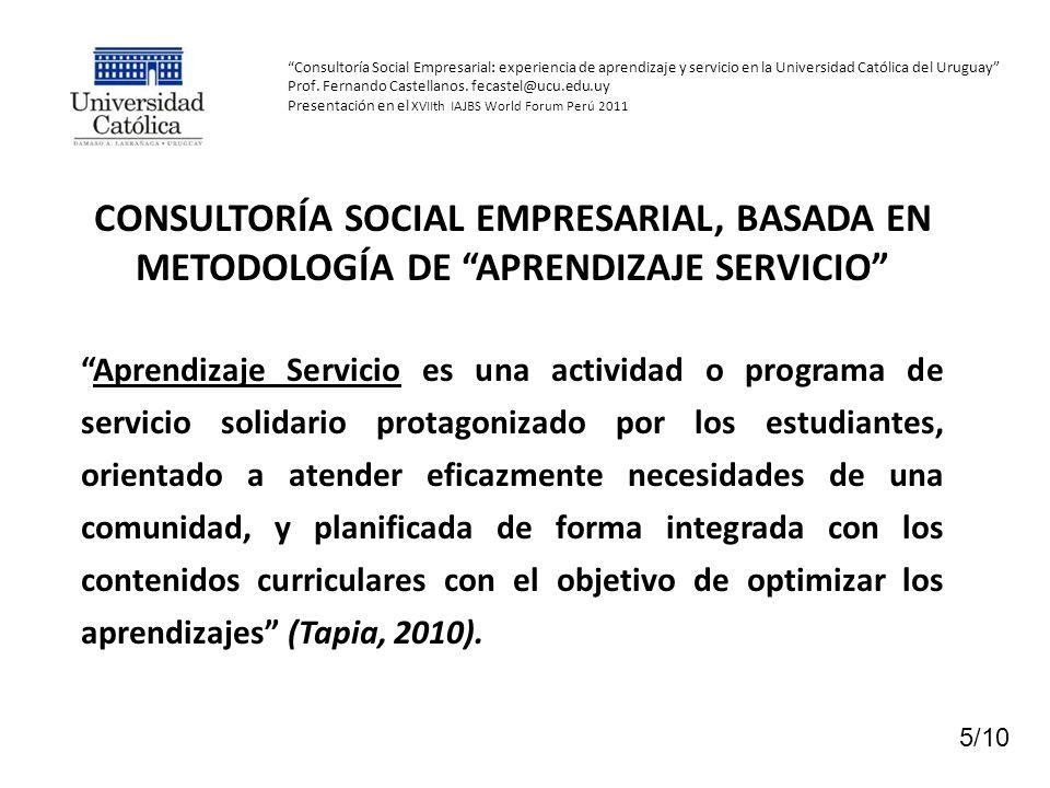 Consultoría Social Empresarial: experiencia de aprendizaje y servicio en la Universidad Católica del Uruguay Prof. Fernando Castellanos. fecastel@ucu.edu.uy Presentación en el XVIIth IAJBS World Forum Perú 2011