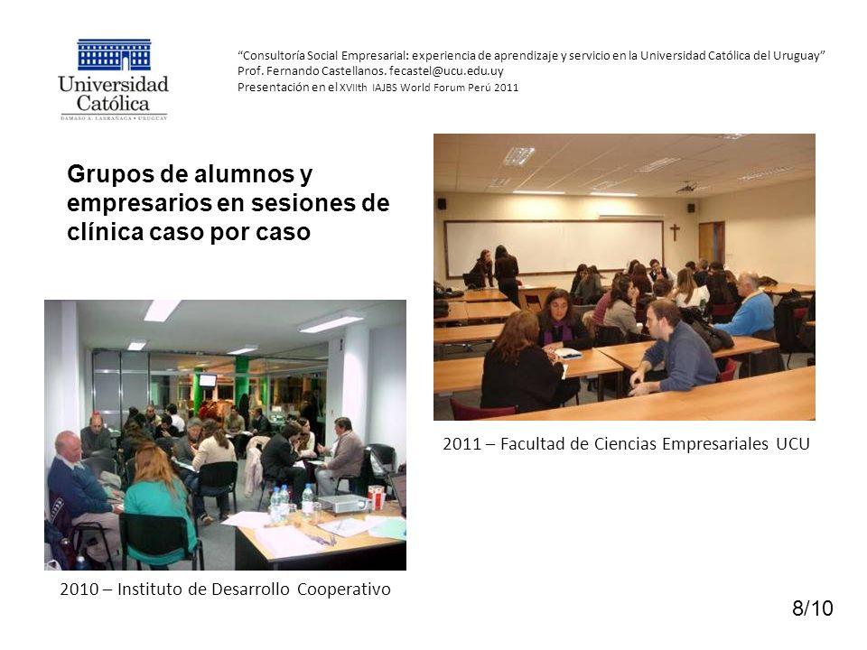 Grupos de alumnos y empresarios en sesiones de clínica caso por caso